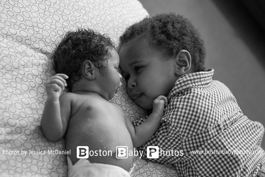 Waltham, MA Newborn Photographer: Baby sister joins the team