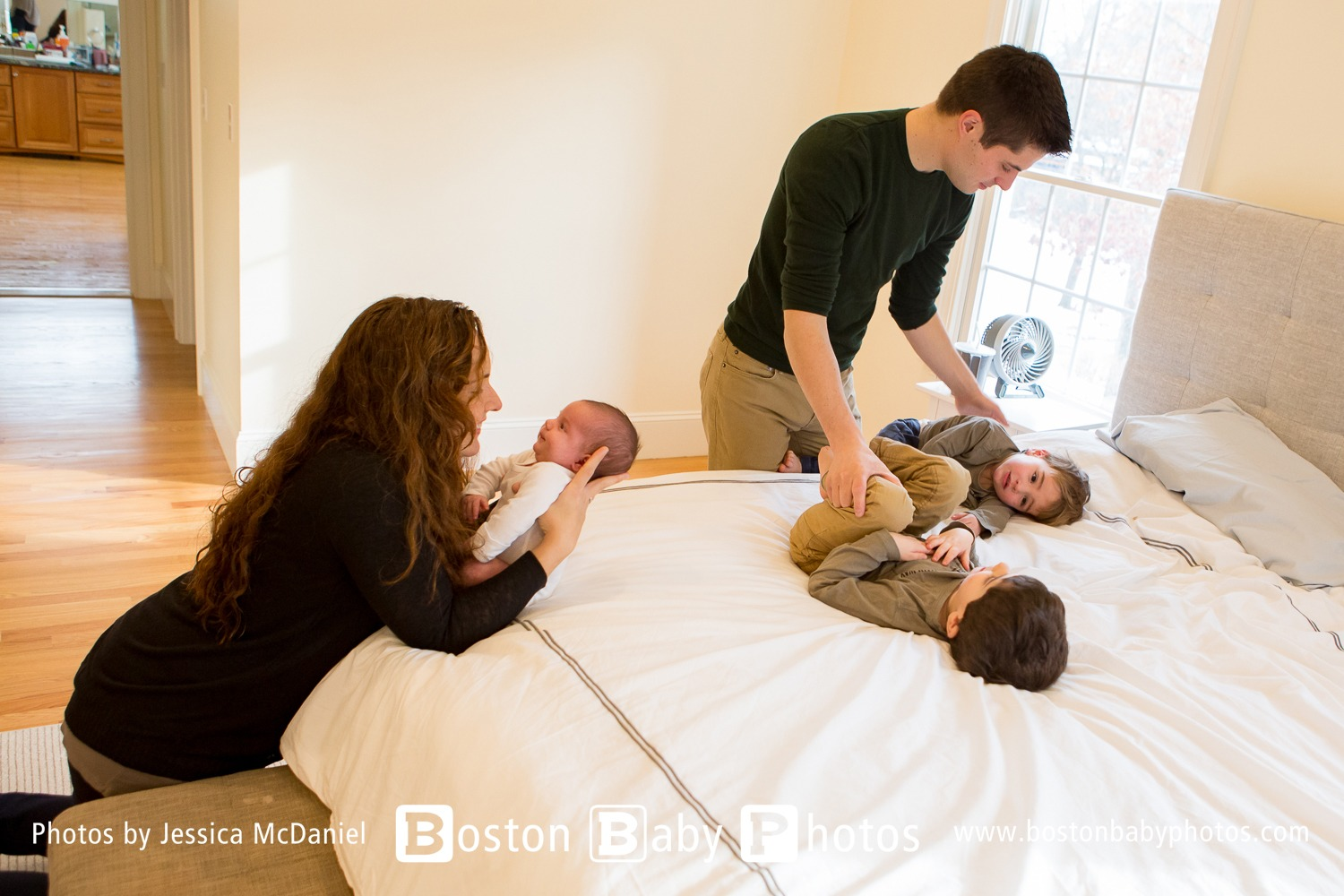 Needham MA Newborn Lifestyle Photo Session - Three boys under four