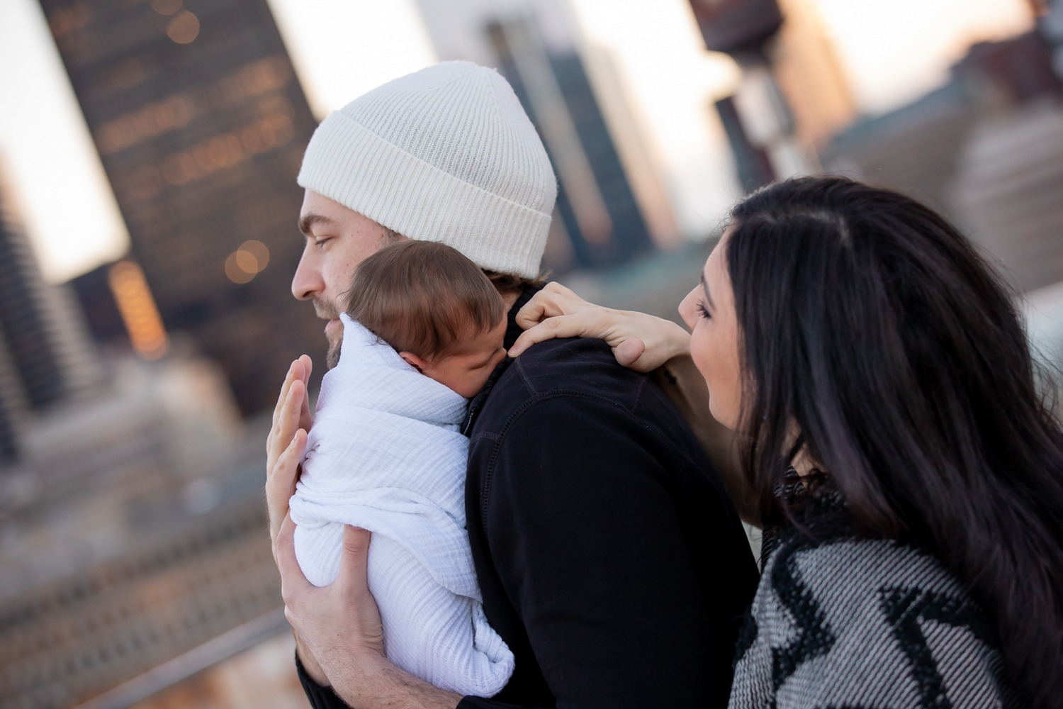 Downtown Boston: Roofdeck Newborn Session in January
