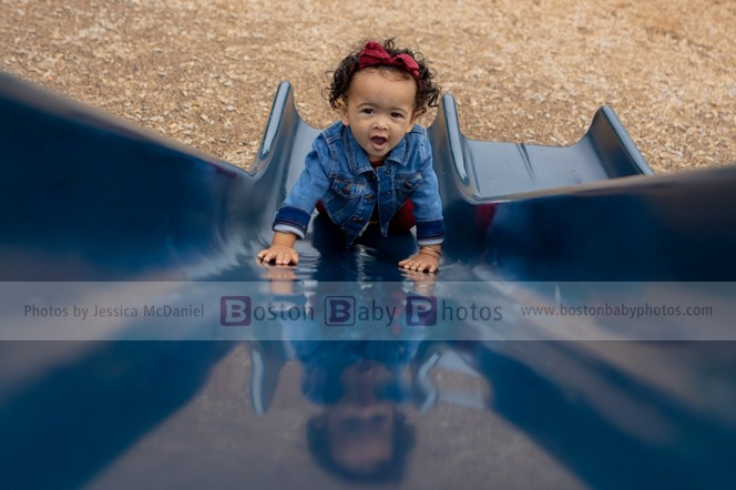 Quincy, MA: One year old at the playground with her mamas